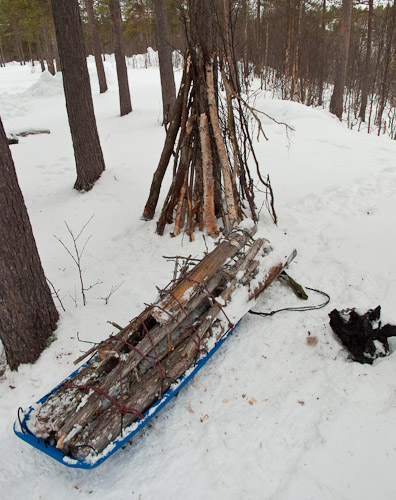 Hauling Wood in the Pulk - Ice Raven - Sub Zero Adventure - Copyright Gary Waidson, All rights reserved.