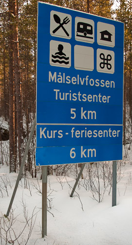 Malselvefossen Signpost - Ice Raven - Sub Zero Adventure - Copyright Gary Waidson, All rights reserved.