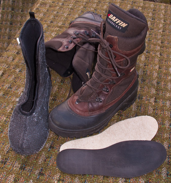 Pac Boots with poor quality sythetic liners. - Ice Raven - Sub Zero Adventure - Copyright Gary Waidson, All rights reserved.