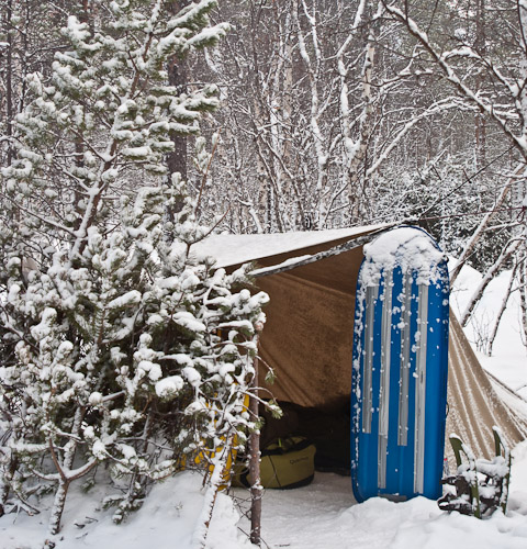 Tarp Shelter in Snow - Ice Raven - Sub Zero Adventure - Copyright Gary Waidson, All rights reserved.
