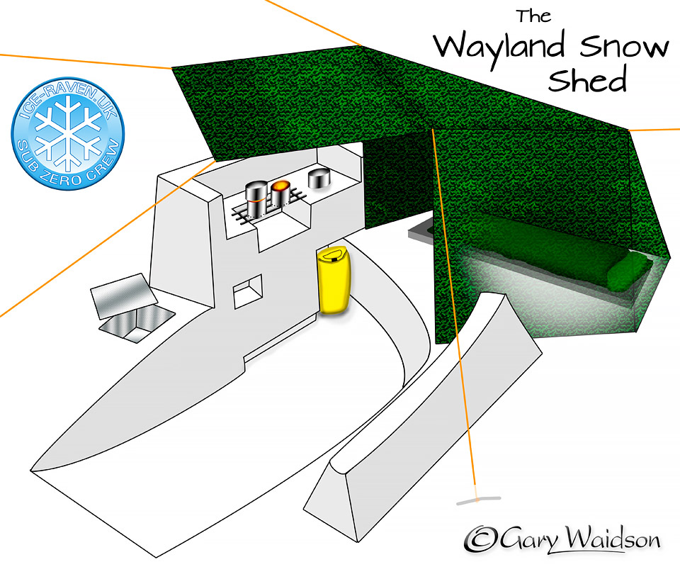 The Wayland Snow Shed with a kitchen area - Ice Raven - Sub Zero Adventure - Copyright Gary Waidson, All rights reserved.